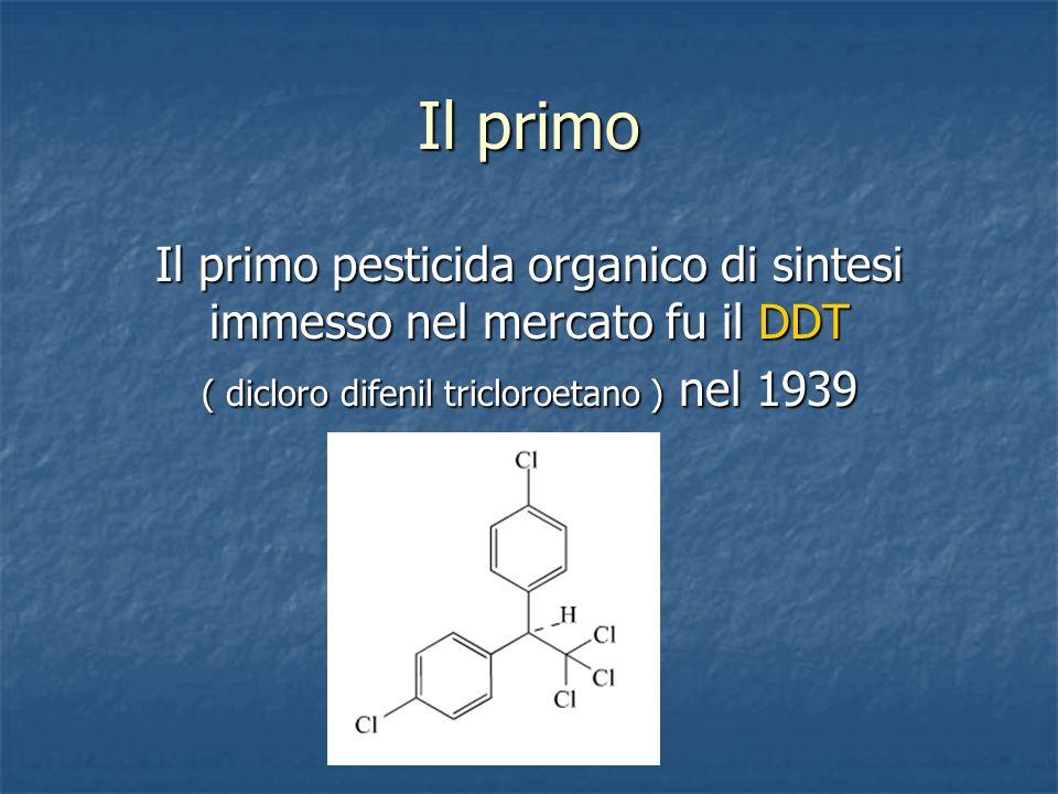 Il primo Il primo pesticida organico di sintesi immesso nel mercato fu il DDT ( dicloro difenil tricloroetano ) nel 1939