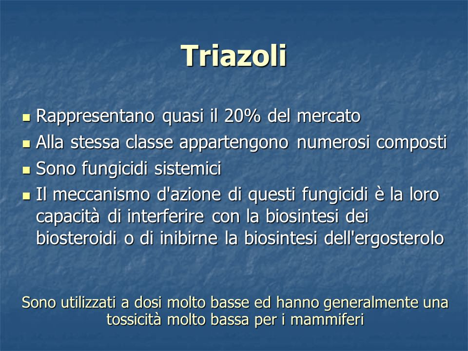 Triazoli Rappresentano quasi il 20% del mercato Rappresentano quasi il 20% del mercato Alla stessa classe appartengono numerosi composti Alla stessa c