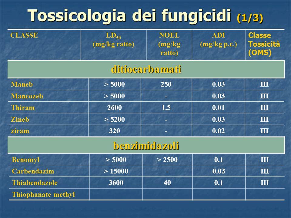 Tossicologia dei fungicidi (1/3) CLASSELD 50 (mg/kg ratto) NOEL (mg/kg ratto) ADI (mg/kg p.c.) Classe Tossicità (OMS) ditiocarbamati Maneb> 50002500.0