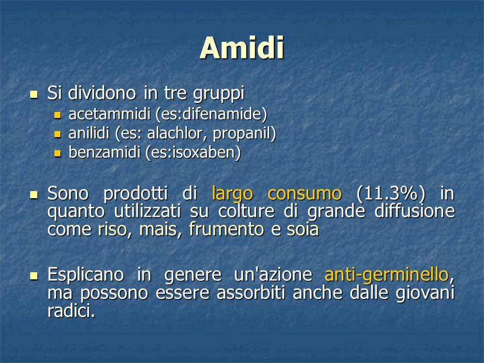Amidi Si dividono in tre gruppi Si dividono in tre gruppi acetammidi (es:difenamide) acetammidi (es:difenamide) anilidi (es: alachlor, propanil) anili
