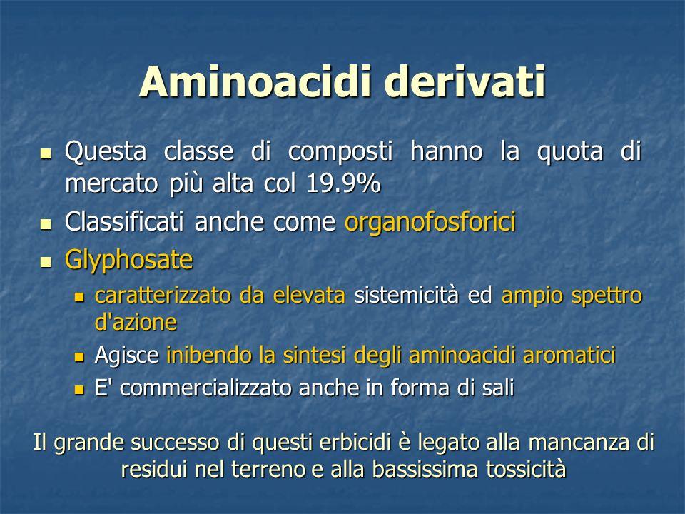Aminoacidi derivati Questa classe di composti hanno la quota di mercato più alta col 19.9% Questa classe di composti hanno la quota di mercato più alt