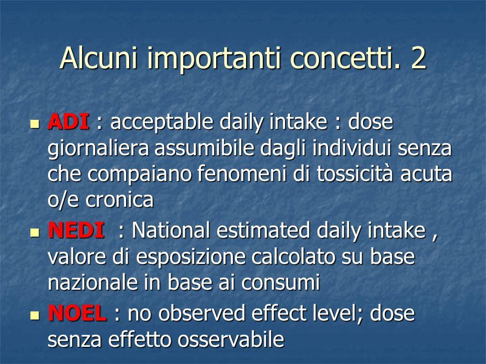 Alcuni importanti concetti. 2 ADI : acceptable daily intake : dose giornaliera assumibile dagli individui senza che compaiano fenomeni di tossicità ac