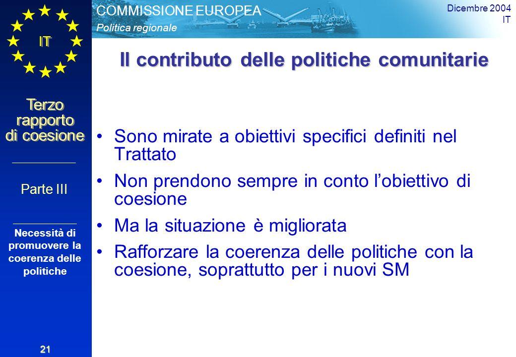 Politica regionale COMMISSIONE EUROPEA IT Terzo rapporto di coesione Dicembre 2004 IT 21 Il contributo delle politiche comunitarie Sono mirate a obiettivi specifici definiti nel Trattato Non prendono sempre in conto lobiettivo di coesione Ma la situazione è migliorata Rafforzare la coerenza delle politiche con la coesione, soprattutto per i nuovi SM Parte III Necessità di promuovere la coerenza delle politiche