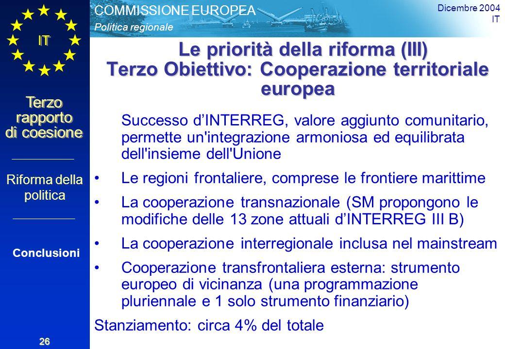 Politica regionale COMMISSIONE EUROPEA IT Terzo rapporto di coesione Dicembre 2004 IT 26 Le priorità della riforma (III) Terzo Obiettivo: Cooperazione territoriale europea Le priorità della riforma (III) Terzo Obiettivo: Cooperazione territoriale europea Successo dINTERREG, valore aggiunto comunitario, permette un integrazione armoniosa ed equilibrata dell insieme dell Unione Le regioni frontaliere, comprese le frontiere marittime La cooperazione transnazionale (SM propongono le modifiche delle 13 zone attuali dINTERREG III B) La cooperazione interregionale inclusa nel mainstream Cooperazione transfrontaliera esterna: strumento europeo di vicinanza (una programmazione pluriennale e 1 solo strumento finanziario) Stanziamento: circa 4% del totale Riforma della politica Conclusioni