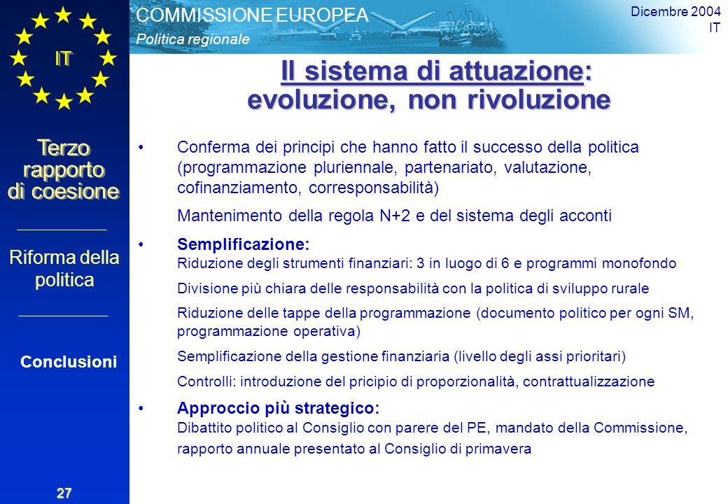 Politica regionale COMMISSIONE EUROPEA IT Terzo rapporto di coesione Dicembre 2004 IT 27 Il sistema di attuazione: evoluzione, non rivoluzione Il sistema di attuazione: evoluzione, non rivoluzione Conferma dei principi che hanno fatto il successo della politica (programmazione pluriennale, partenariato, valutazione, cofinanziamento, corresponsabilità) Mantenimento della regola N+2 e del sistema degli acconti Semplificazione: Riduzione degli strumenti finanziari: 3 in luogo di 6 e programmi monofondo Divisione più chiara delle responsabilità con la politica di sviluppo rurale Riduzione delle tappe della programmazione (documento politico per ogni SM, programmazione operativa) Semplificazione della gestione finanziaria (livello degli assi prioritari) Controlli: introduzione del pricipio di proporzionalità, contrattualizzazione Approccio più strategico: Dibattito politico al Consiglio con parere del PE, mandato della Commissione, rapporto annuale presentato al Consiglio di primavera Riforma della politica Conclusioni