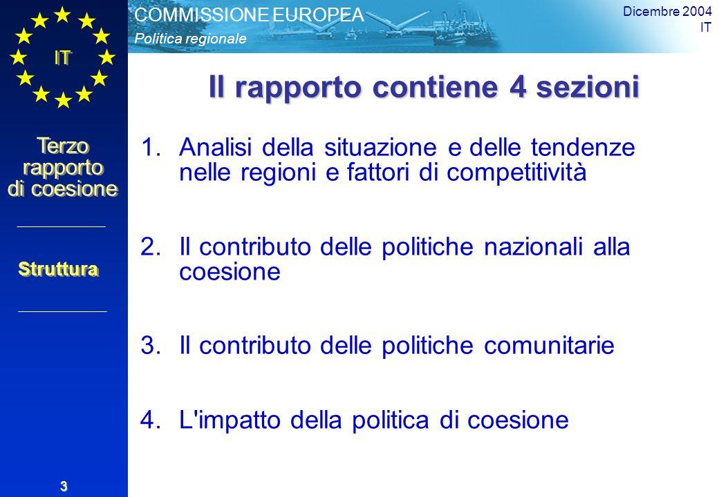 Politica regionale COMMISSIONE EUROPEA IT Terzo rapporto di coesione Dicembre 2004 IT 3 Il rapporto contiene 4 sezioni 1.Analisi della situazione e delle tendenze nelle regioni e fattori di competitività 2.Il contributo delle politiche nazionali alla coesione 3.Il contributo delle politiche comunitarie 4.L impatto della politica di coesione Struttura