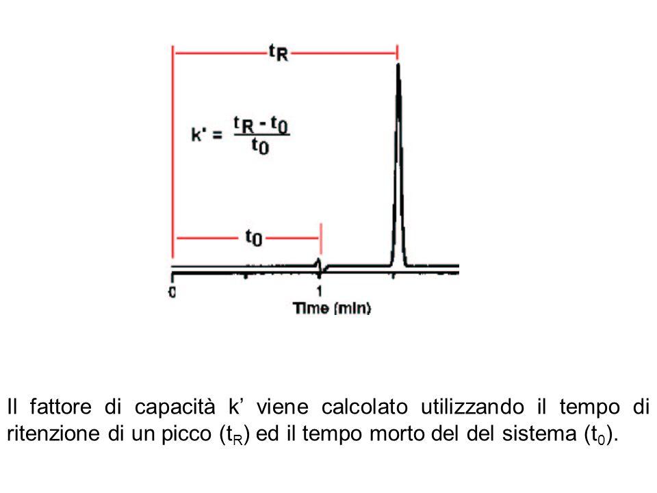 Il fattore di capacità k viene calcolato utilizzando il tempo di ritenzione di un picco (t R ) ed il tempo morto del del sistema (t 0 ).