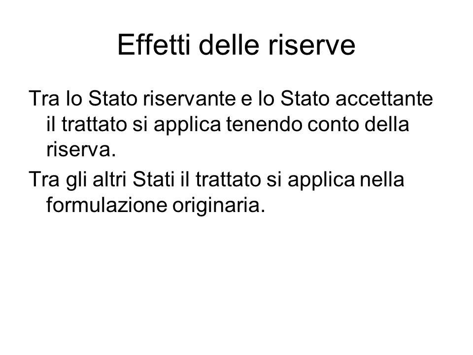Effetti delle riserve Tra lo Stato riservante e lo Stato accettante il trattato si applica tenendo conto della riserva.