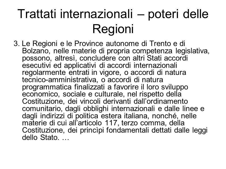 Trattati internazionali – poteri delle Regioni 3. Le Regioni e le Province autonome di Trento e di Bolzano, nelle materie di propria competenza legisl