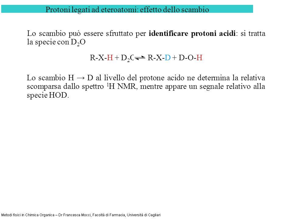 Protoni legati ad eteroatomi: effetto dello scambio Lo scambio può essere sfruttato per identificare protoni acidi: si tratta la specie con D 2 O R-X-H + D 2 O R-X-D + D-O-H Lo scambio H D al livello del protone acido ne determina la relativa scomparsa dallo spettro 1 H NMR, mentre appare un segnale relativo alla specie HOD.