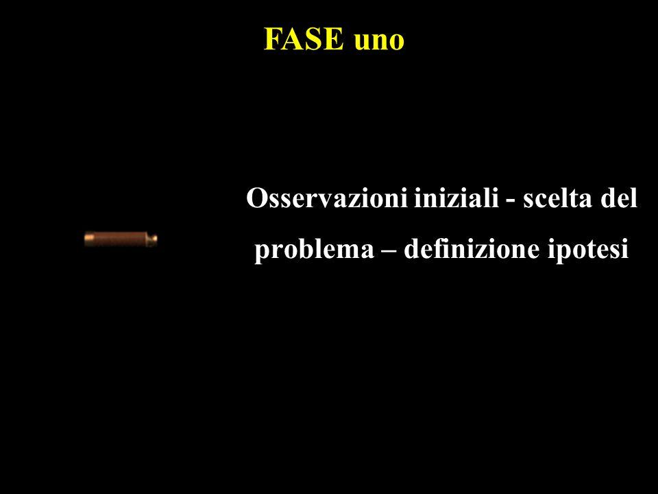 Osservazioni iniziali - scelta del problema – definizione ipotesi FASE uno