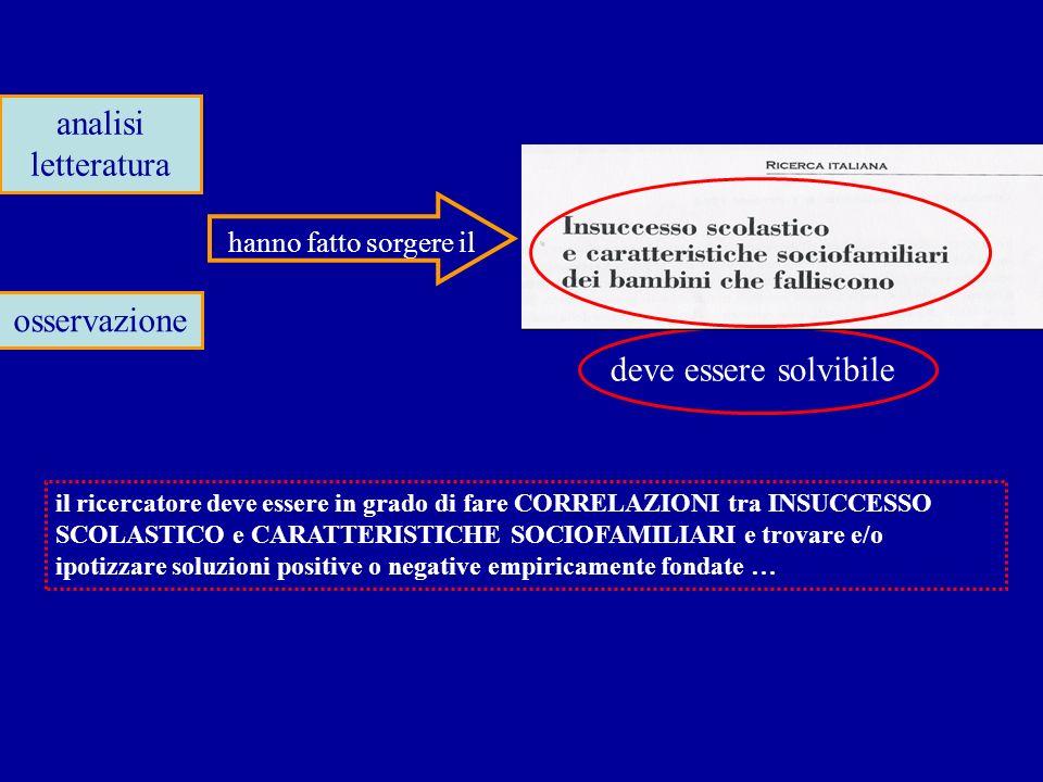 analisi letteratura osservazione deve essere solvibile il ricercatore deve essere in grado di fare CORRELAZIONI tra INSUCCESSO SCOLASTICO e CARATTERIS