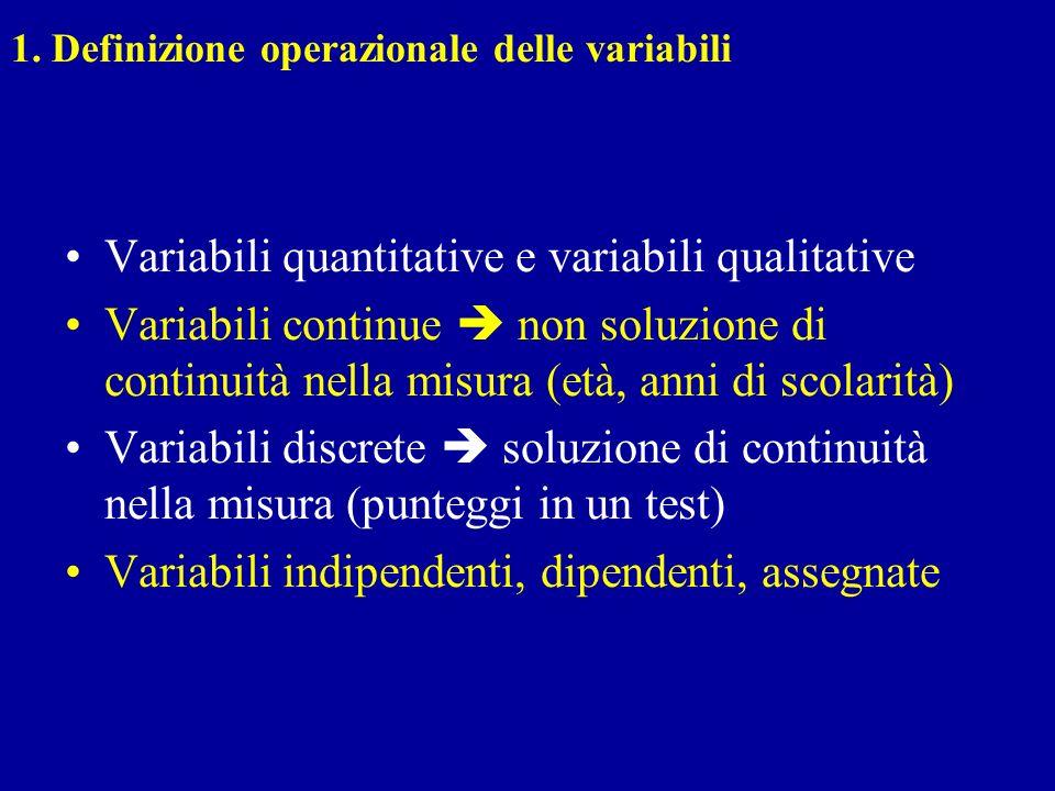 Variabili quantitative e variabili qualitative Variabili continue non soluzione di continuità nella misura (età, anni di scolarità) Variabili discrete