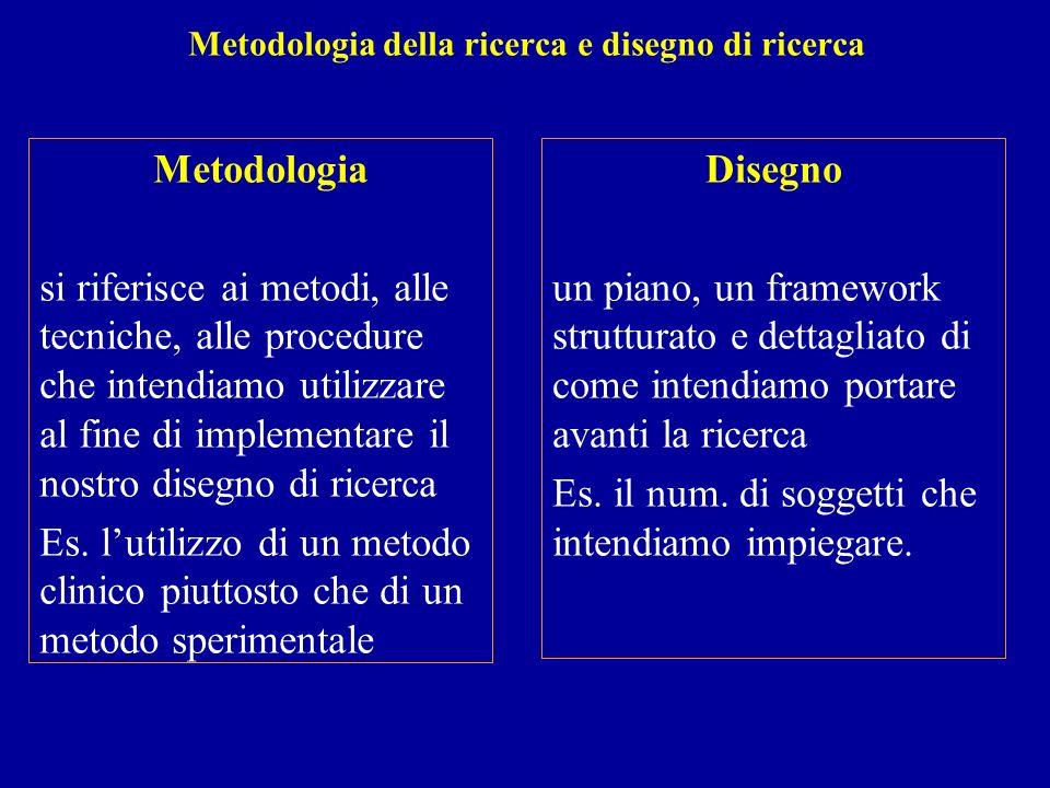 Metodologia della ricerca e disegno di ricerca Metodologia si riferisce ai metodi, alle tecniche, alle procedure che intendiamo utilizzare al fine di