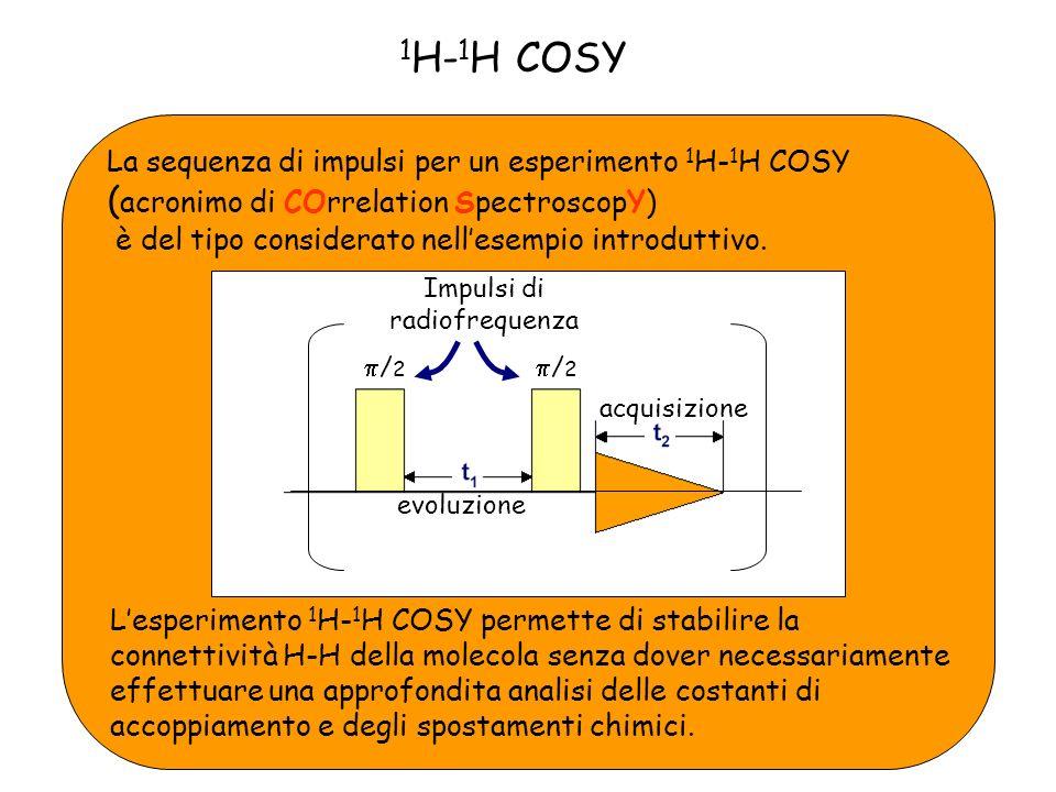 La sequenza di impulsi per un esperimento 1 H- 1 H COSY ( acronimo di COrrelation SpectroscopY) è del tipo considerato nellesempio introduttivo.