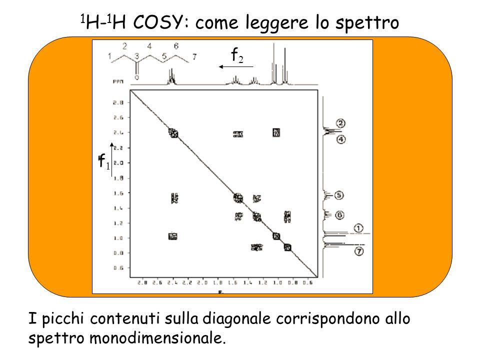 1 H- 1 H COSY: come leggere lo spettro I picchi contenuti sulla diagonale corrispondono allo spettro monodimensionale.