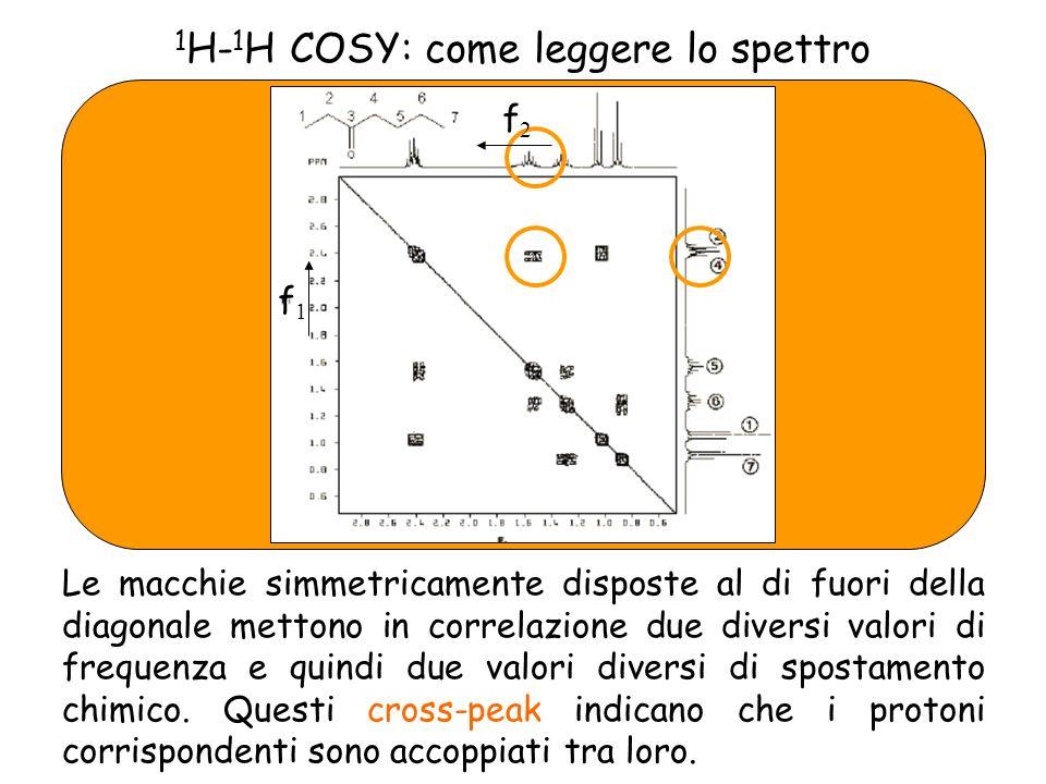 1 H- 1 H COSY: come leggere lo spettro Le macchie simmetricamente disposte al di fuori della diagonale mettono in correlazione due diversi valori di frequenza e quindi due valori diversi di spostamento chimico.