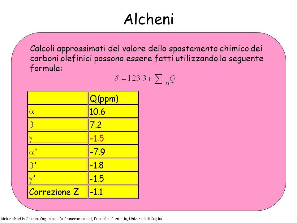 Alcheni Calcoli approssimati del valore dello spostamento chimico dei carboni olefinici possono essere fatti utilizzando la seguente formula: