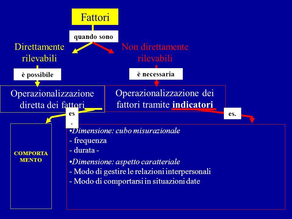 Direttamente rilevabili quando sono Fattori è possibile Operazionalizzazione diretta dei fattori è necessaria Operazionalizzazione dei fattori tramite