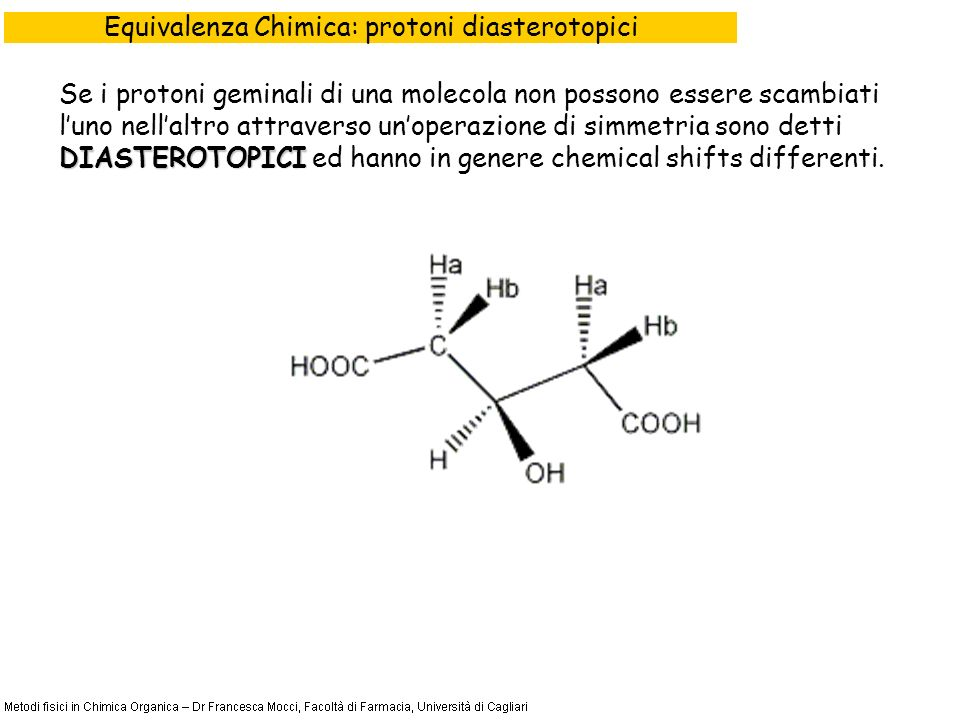 Equivalenza Chimica: protoni diasterotopici DIASTEROTOPICI Se i protoni geminali di una molecola non possono essere scambiati luno nellaltro attraverso unoperazione di simmetria sono detti DIASTEROTOPICI ed hanno in genere chemical shifts differenti.