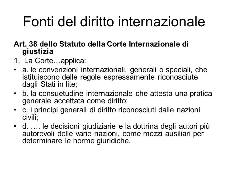 Fonti del diritto internazionale Art.38 dello Statuto della Corte Internazionale di giustizia 1.