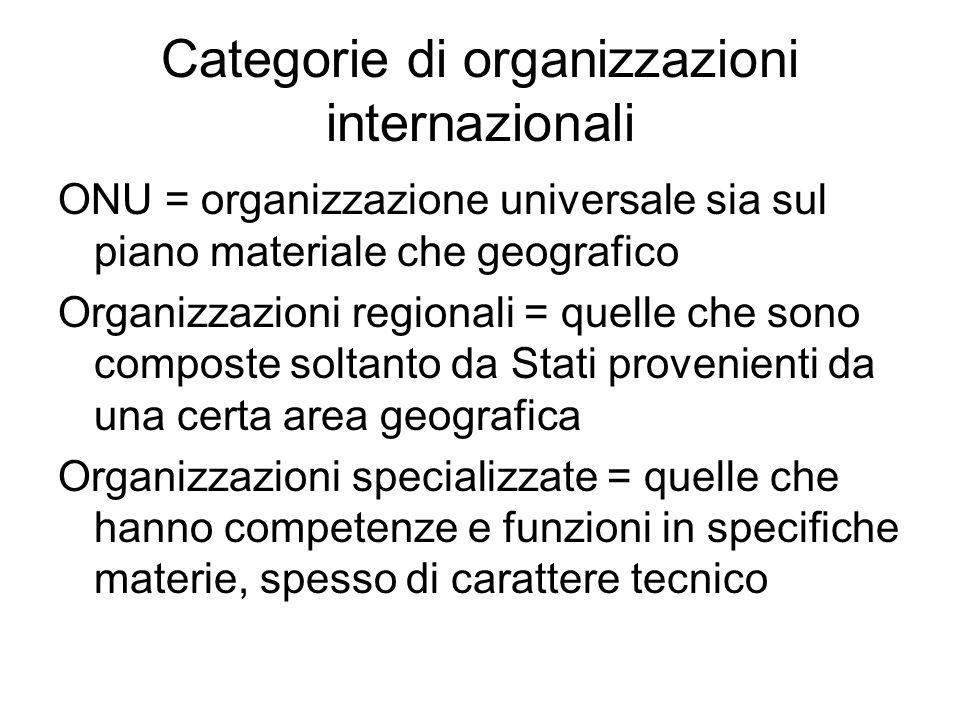 Categorie di organizzazioni internazionali ONU = organizzazione universale sia sul piano materiale che geografico Organizzazioni regionali = quelle che sono composte soltanto da Stati provenienti da una certa area geografica Organizzazioni specializzate = quelle che hanno competenze e funzioni in specifiche materie, spesso di carattere tecnico