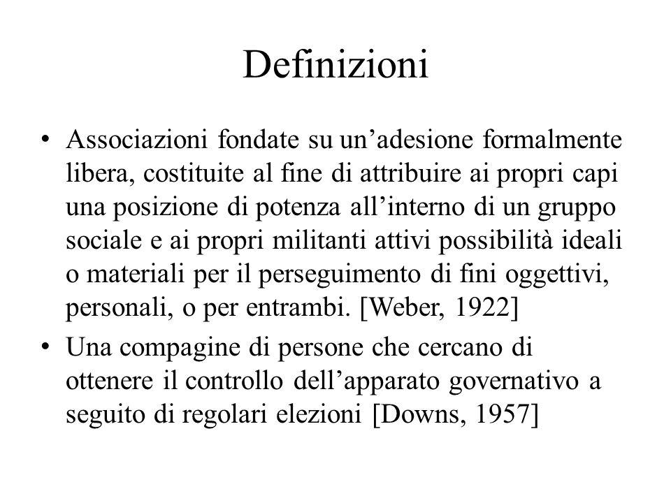 Definizioni Associazioni fondate su unadesione formalmente libera, costituite al fine di attribuire ai propri capi una posizione di potenza allinterno