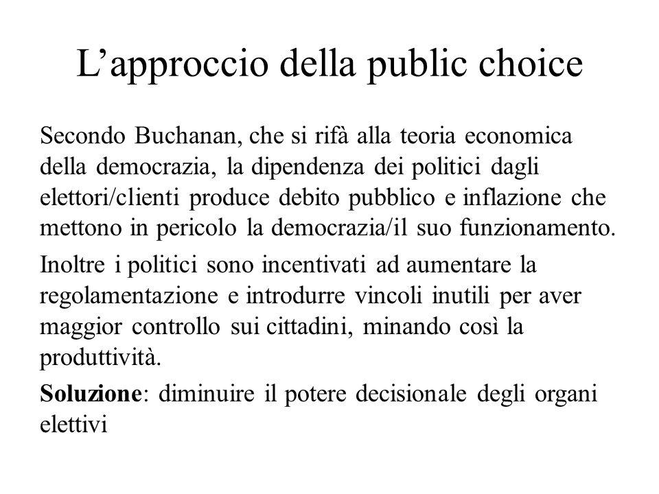 Lapproccio della public choice Secondo Buchanan, che si rifà alla teoria economica della democrazia, la dipendenza dei politici dagli elettori/clienti