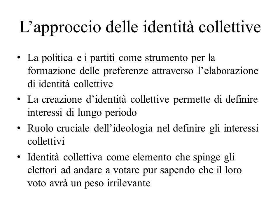 Lapproccio delle identità collettive La politica e i partiti come strumento per la formazione delle preferenze attraverso lelaborazione di identità co