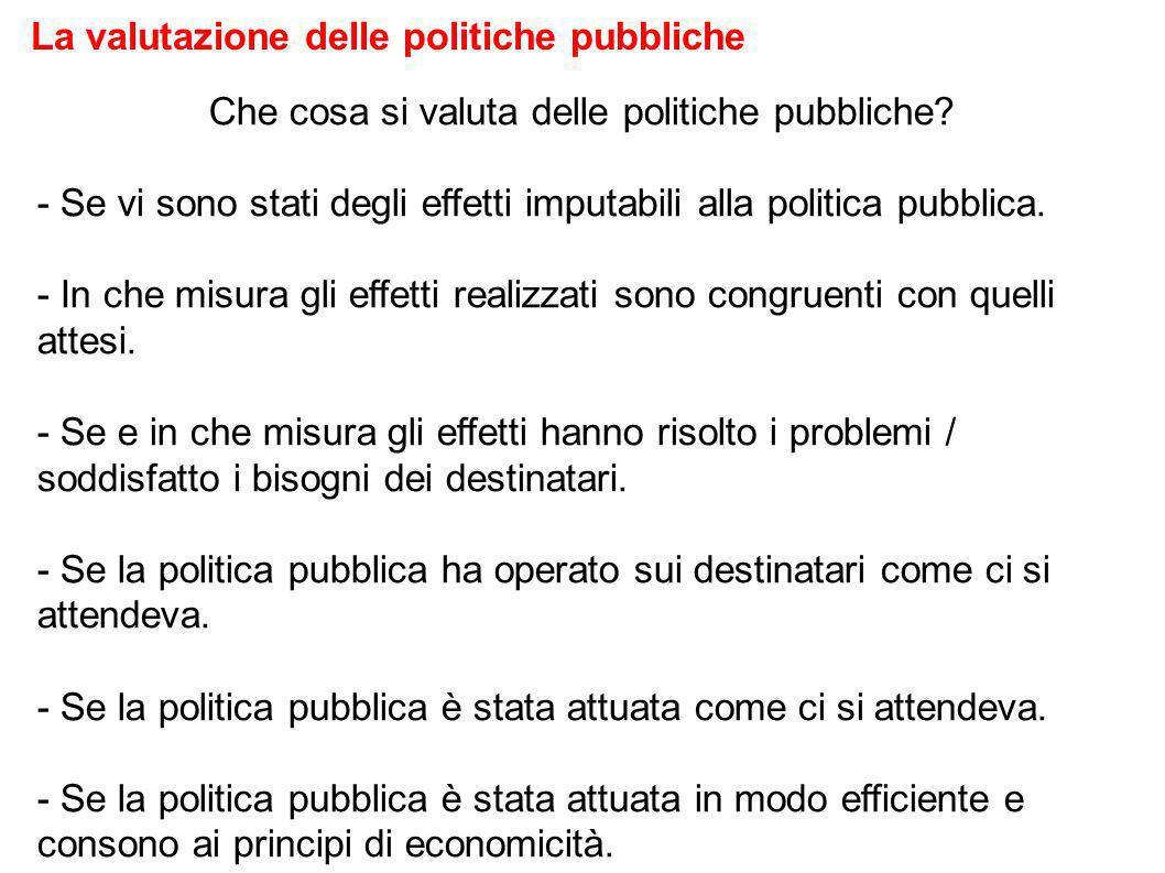 Che cosa si valuta delle politiche pubbliche.