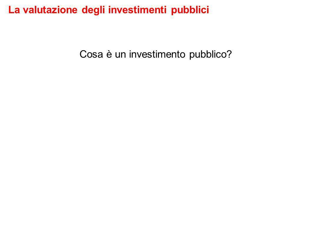 Cosa è un investimento pubblico La valutazione degli investimenti pubblici