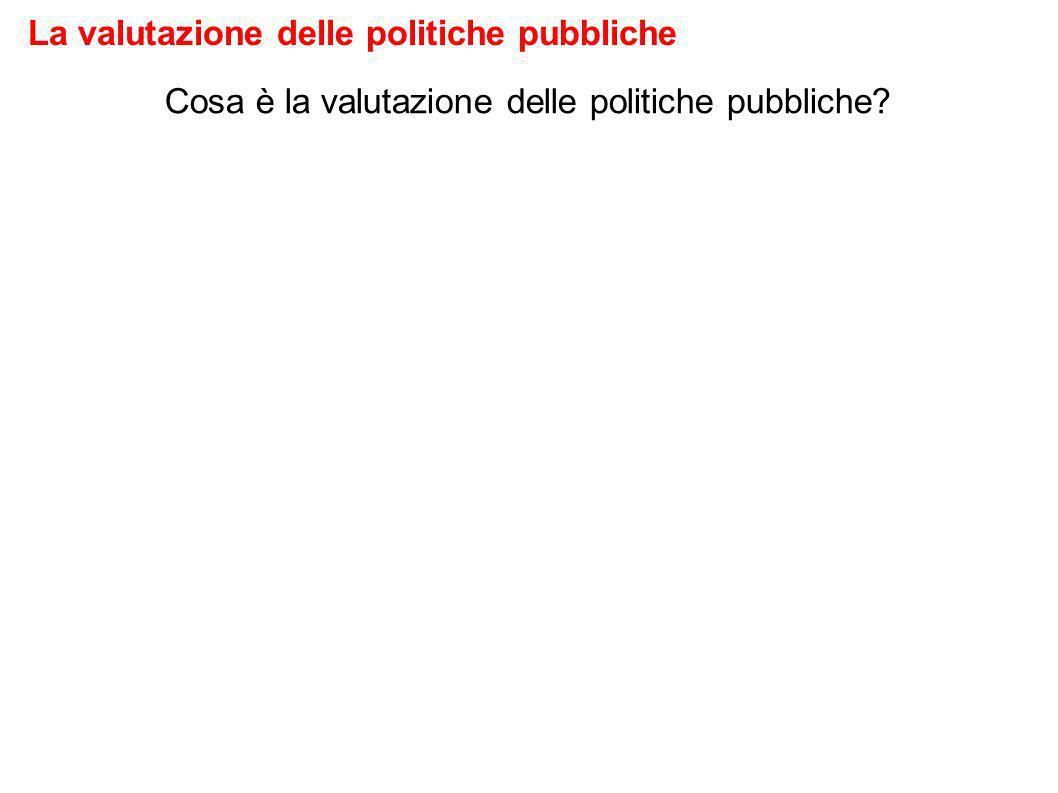 Cosa è la valutazione delle politiche pubbliche La valutazione delle politiche pubbliche