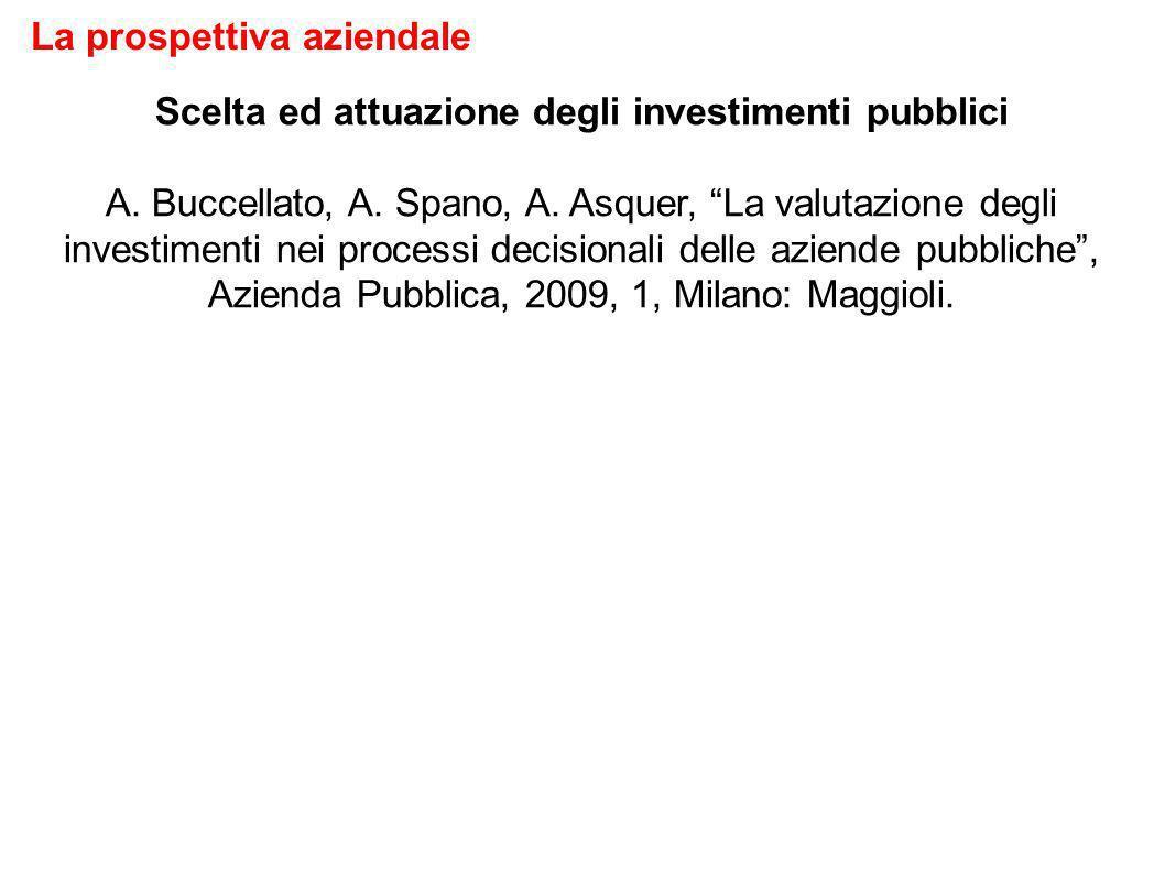 Scelta ed attuazione degli investimenti pubblici A.