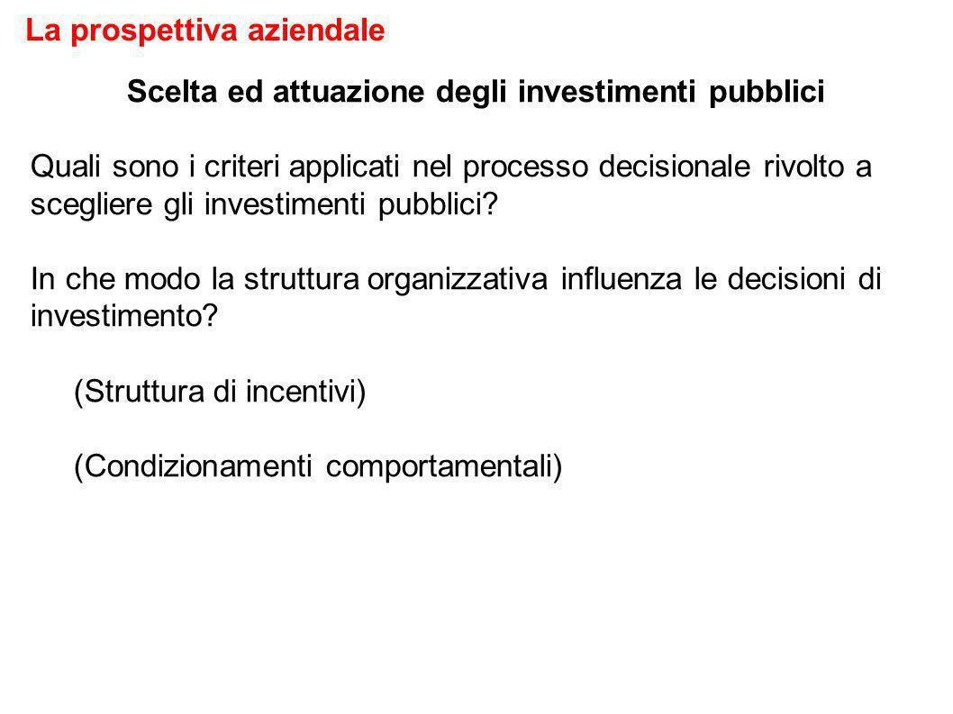 Scelta ed attuazione degli investimenti pubblici Quali sono i criteri applicati nel processo decisionale rivolto a scegliere gli investimenti pubblici.