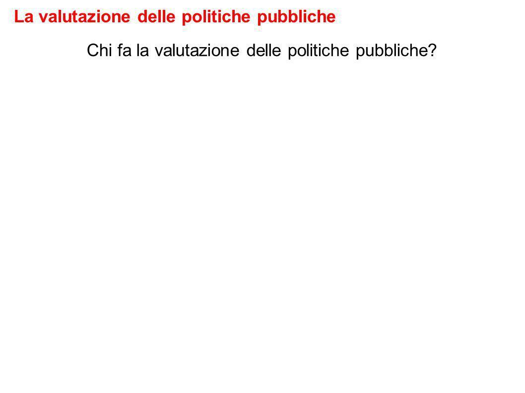 Chi fa la valutazione delle politiche pubbliche La valutazione delle politiche pubbliche