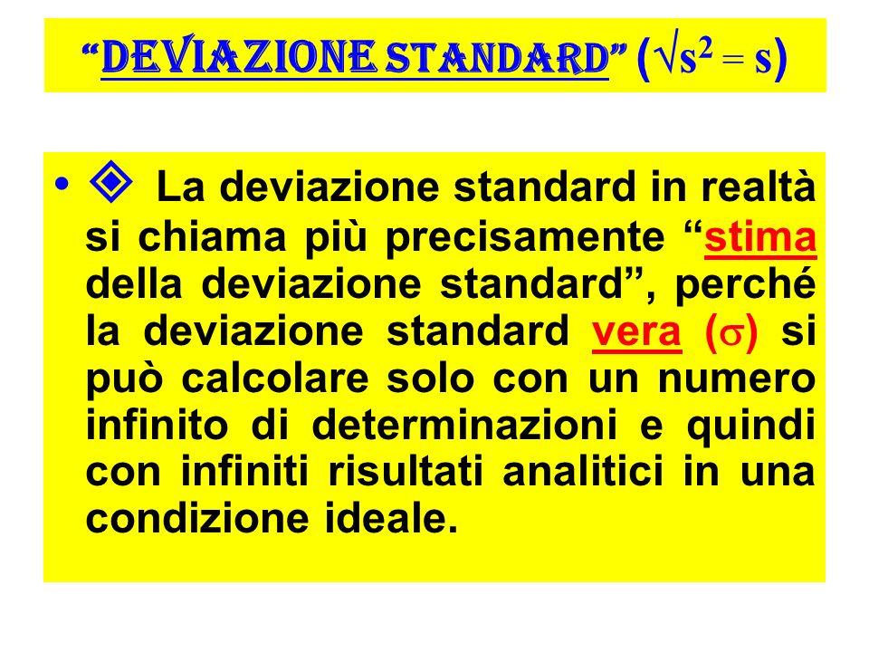 DEVIAZIONE STANDARD ( s 2 = s ) La deviazione standard in realtà si chiama più precisamente stima della deviazione standard, perché la deviazione standard vera ( ) si può calcolare solo con un numero infinito di determinazioni e quindi con infiniti risultati analitici in una condizione ideale.