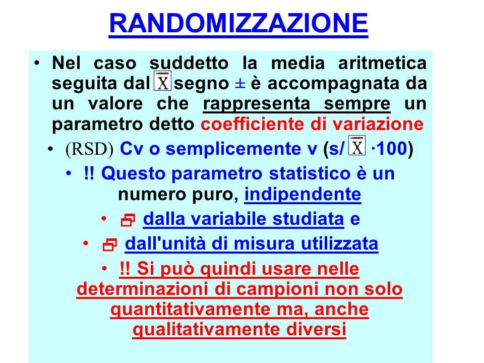 Nel caso suddetto la media aritmetica seguita dal segno ± è accompagnata da un valore che rappresenta sempre un parametro detto coefficiente di variazione (RSD) Cv o semplicemente v (s/ ·100) !.