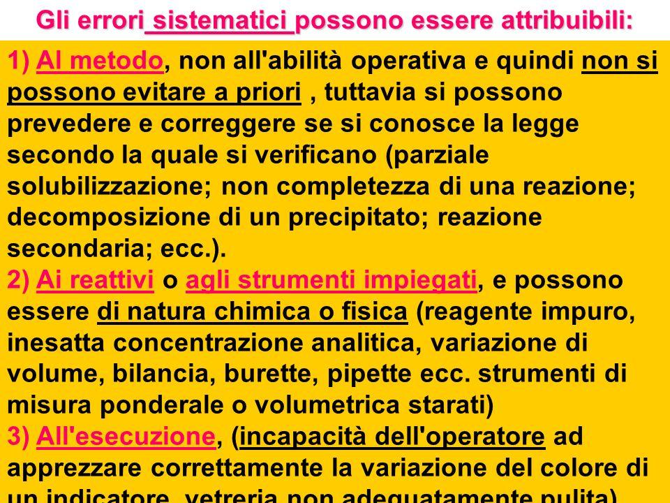 Gli errori sistematici possono essere attribuibili: 1) Al metodo, non all'abilità operativa e quindi non si possono evitare a priori, tuttavia si poss