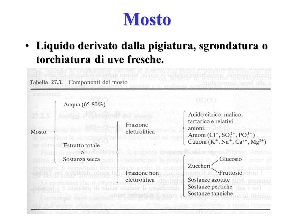 Mosto Liquido derivato dalla pigiatura, sgrondatura o torchiatura di uve fresche.Liquido derivato dalla pigiatura, sgrondatura o torchiatura di uve fr
