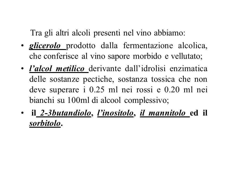 Tra gli altri alcoli presenti nel vino abbiamo: glicerolo prodotto dalla fermentazione alcolica, che conferisce al vino sapore morbido e vellutato; la