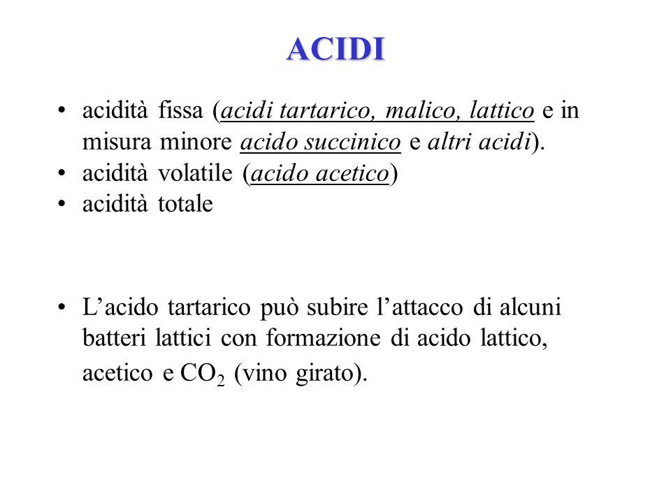 ACIDI acidità fissa (acidi tartarico, malico, lattico e in misura minore acido succinico e altri acidi). acidità volatile (acido acetico) acidità tota