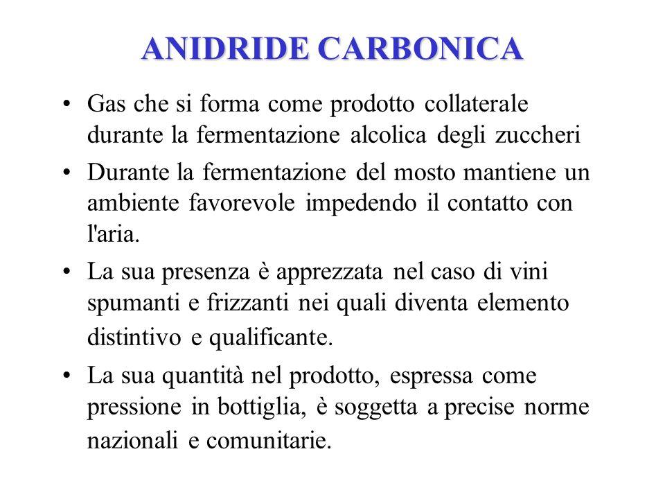 ANIDRIDE CARBONICA Gas che si forma come prodotto collaterale durante la fermentazione alcolica degli zuccheri Durante la fermentazione del mosto mant