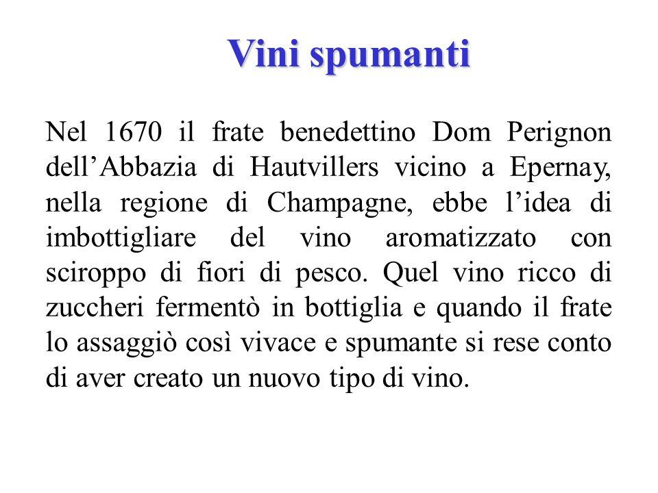 Vini spumanti Nel 1670 il frate benedettino Dom Perignon dellAbbazia di Hautvillers vicino a Epernay, nella regione di Champagne, ebbe lidea di imbott