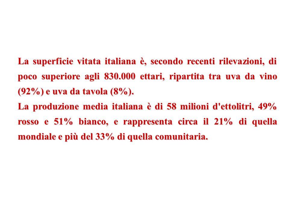 La superficie vitata italiana è, secondo recenti rilevazioni, di poco superiore agli 830.000 ettari, ripartita tra uva da vino (92%) e uva da tavola (