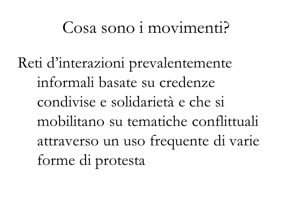Cosa sono i movimenti? Reti dinterazioni prevalentemente informali basate su credenze condivise e solidarietà e che si mobilitano su tematiche conflit