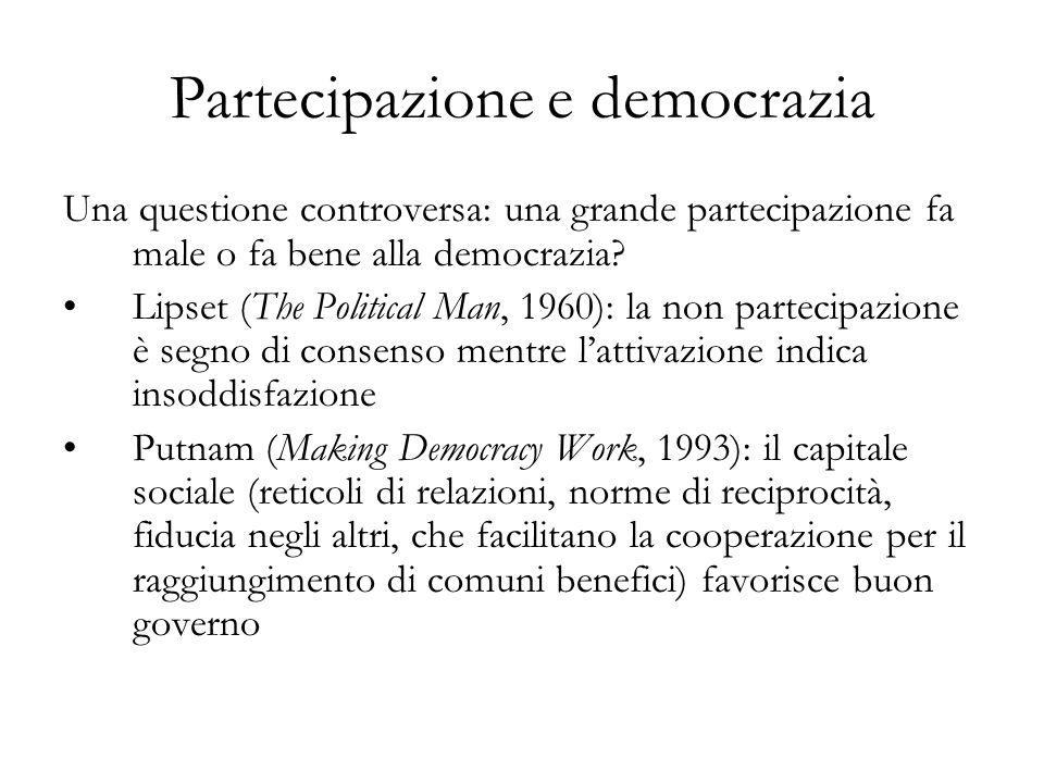 Partecipazione e democrazia Una questione controversa: una grande partecipazione fa male o fa bene alla democrazia? Lipset (The Political Man, 1960):