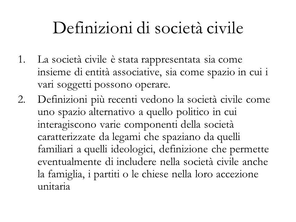 Definizioni di società civile 1.La società civile è stata rappresentata sia come insieme di entità associative, sia come spazio in cui i vari soggetti possono operare.