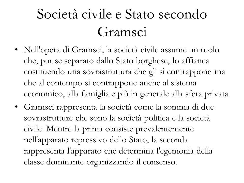 Società civile e Stato secondo Gramsci Nell'opera di Gramsci, la società civile assume un ruolo che, pur se separato dallo Stato borghese, lo affianca