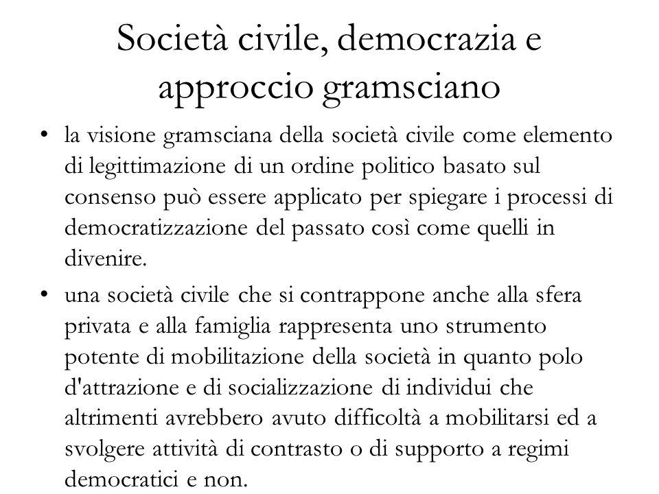 Società civile, democrazia e approccio gramsciano la visione gramsciana della società civile come elemento di legittimazione di un ordine politico basato sul consenso può essere applicato per spiegare i processi di democratizzazione del passato così come quelli in divenire.