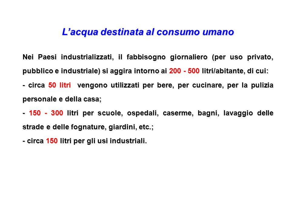 Lacqua destinata al consumo umano Nei Paesi industrializzati, il fabbisogno giornaliero (per uso privato, pubblico e industriale) si aggira intorno ai